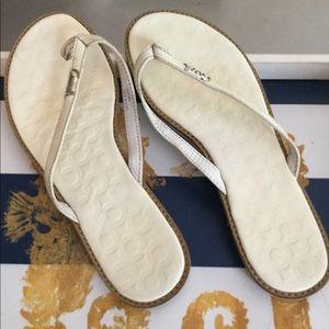 Women's cream white coach sandals